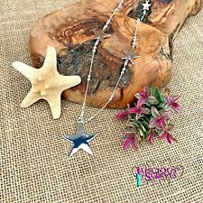 SILVER & ROSE GOLD STAR NECKLACE LONG NICKLE FREE ALLOY METAL CHAIN WITH STARS