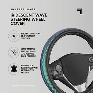 Teal Iridescent Wave Car Steering Wheel Cover for Women Universal