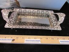 "Vanity Dresser Metal tray Shabby Cottage Chic rectangle 13-3/4""x 6-3/4"" x 3"""