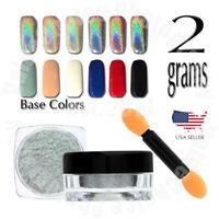 Holographic Unicorn Chrome Rainbow Glitter Powder Pigments For Nail Art 2g Pot