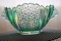 Fenton Iridescent Daisy & Button Oval Bowl Green - NIB