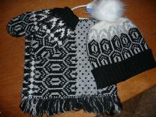 BNWT Next Monochrome Hat, Snood & Mittens Set/ Age 7-10