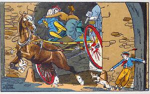 Etienne LE RALLIC Lithographie Coloriée au pochoir Attelage anglais et chien