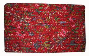 Indian Vintage Red Bird Print  Kantha Quilt Bedding Queen 100%Cotton Body Warmer
