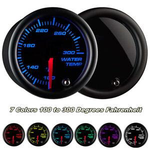 Universal Black 52mm 7 Color LED Water Coolant Temperature Temp Gauge Meter - °F