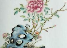 New listing An Excellent Chinese Qing Dynasty Famille Rose Porcelain Plaque, Rosewood Frame.