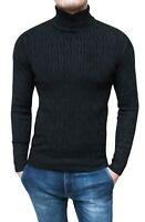 Pullover Dolcevita uomo nero maglione slim fit invernale in lana e Cachemire
