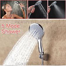 Universal 5 Mode Function Bathroom Shower Head Chrome Anti-Limescale Handset NEW