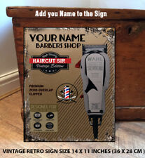 Personalised Mens Barber Hairdressers Clippers Shave vintage metal wall sign