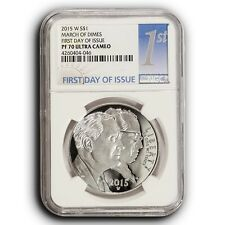 2015-W March of Dimes NGC PF70 UC First Day Of Issue Proof Silver Dollar Coin