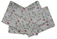 Gardenia Flowers Set 4 Placemats Table Set Mat White Country Kitchen Cork New