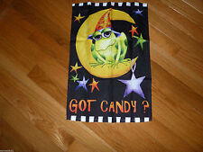 GOT CANDY?  GREEN FROG ON THE MOON Small Halloween Garden Flag! CUTE!