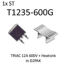 1x ST T1235-600G TRIAC 12A 600V D2PAK + Heatsink T1235