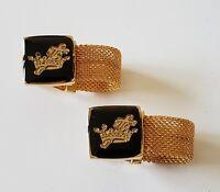 Freemasonry Masonic Black Cufflinks with gold chain Strap Knights Templar emblem