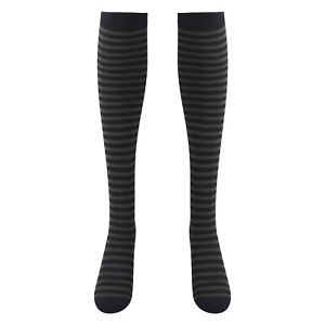 1 Pairs Women Over Knee Length Socks Breathable Anime Pinstripe Stretchy Dance