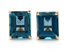 7.45 Carats Natural London Blue Topaz 14K Solid Yellow Gold Stud Earrings