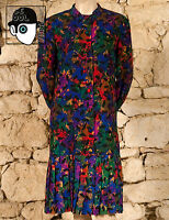VINTAGE 80s ABSTRACT MOTIF DAY DRESS - UK 14  - (Q)