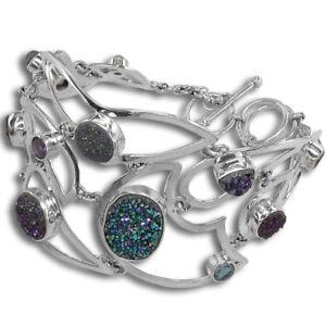 Offerings Sajen 925 SS Druzy, Iolite, Swiss Blue Topaz and Moonstone Bracelet