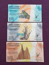 LOT BILLETS MADAGASCAR - 100 - 200 & 500 Ariary