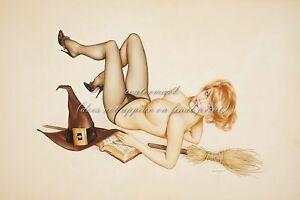 "ALBERTO VARGAS Pin-up Art Poster or Canvas Print ""Vargas Girl"" Witch Girl #63"