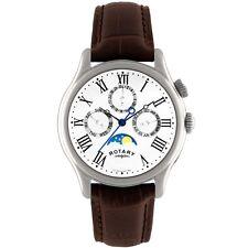 Rotary GS02838-01 Hombre Relojes Fase lunar Reloj Correa De Cuero Marrón