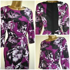 NEW KALIKO JOANNA TEA DRESS SHIFT WATERFALL PURPLE MAGENTA FLORAL CHIFFON 8 - 14