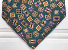 Stefano Ricci Tie Green Multicolor Necktie Mens Silk Italy Squares Diamonds Man