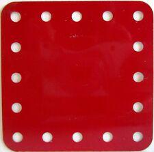 Meccano - 190 Flexible Plate 5 x 5 No Slots Mid Red Original Unused - 1st Post