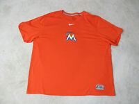 NIKE Miami Marlins Shirt Adult 2XL XXL Orange White Dri Fit MLB Baseball Mens