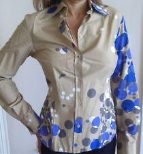 PAUL SMITH Shirt Top Blue Cut Out Back POLKA DOT AMBER CRYSTALS Long Sleeve 42