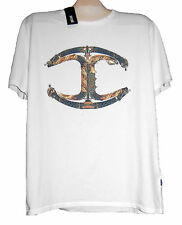 Just Cavalli Off White Shirt Graphic Design Cotton Men's T- Shirt Size 3XL NEW