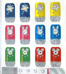 Rabbit Butterfly Design Water Finger Nail Art Decal Sticker 1X SHEET /12PCS