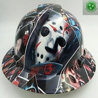 Hard Hat FULL BRIM custom hydro dipped , OSHA approved HORROR MOVIE POSTER BOMB
