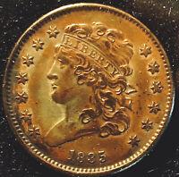 1835-Half Cent 1/2C Classic Head~Nice Toning~AU/MS