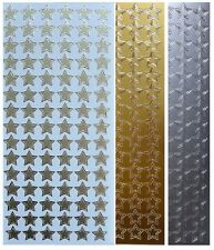 STAR Stickers Peel Off Gold or Silver Teacher Reward Card Making Stars Outline