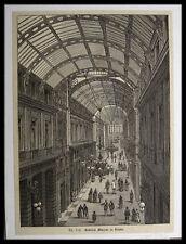 GENOVA - Galleria Mazzini - ITALIA, Italien . Originaler Holzstich 1881