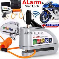 Anti-Theft Bike Motorbike Motorcycle Scooter Alarm Disc Lock Brake Pouch Silver