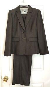 TAHARI Arthur S Levine Womens Pant Suit Brown/Taupe 6P Petite Career Business