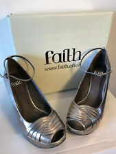 ***PEWTER- HUSHLY BLOCK HIGH HEELS-FAITH-SMART-CHIC-SIZE 4 (37) ***