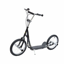 Tretroller Scooter 16 Zoll Cityroller Kinder Jugend Roller schwarz Metall
