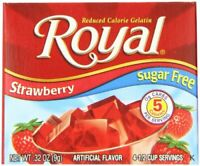 Royal Strawberry Gelatin Dessert Mix Sugar Free and Carb Free (12 - .32oz Boxes)