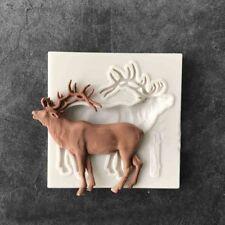 Silicona Fondant Pastel Sugarcraft Navidad Ciervo Alce Decoración Hornear Molde Molde Herramienta