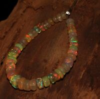"""11.25TCW 4to6 MM 4"""" NATURAL ETHIOPIAN FIRE OPAL ROUNDEL BEADS demi strand *T1827"""