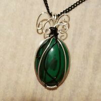 Malachite Silver and Black Reversible Pendant Necklace - Wire Wrapped Wrap