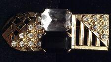 "NEW Unsigned ""Ermani Bulatti"" Goldplate Brooch w/Clear Crystal & Plexi Black"