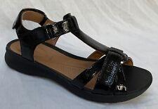 BNIB Clarks Unstructured Ladies Un Adorn Vibe Black Patent Leather Flat Sandals