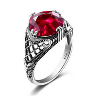 100% 925 Sterling Silver Ring Vintage Style Wedding Souvenirs Ruby Rose Rings