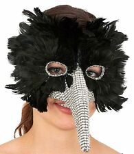 Venetian Black Feather Bird Masquerade Mask Long Nose Faux Rhinestones Costume