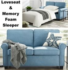 Blue Loveseat Sofa Sleeper & Memory Foam Mattress Sofa Beds Small Spaces Bed NEW