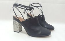 NEXT SIGNATURE BLACK LEATHER CLOGS WITH SILVER HEEL SIZE UK 5 EUR 38 RRP £55